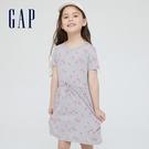 Gap女童 柔軟舒適圓領短袖洋裝 824961-灰色
