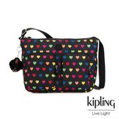 Kipling 繽紛愛心雙拉鍊前袋側背包-SIDNEY