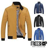 夾克外套 [現貨]【QZZZ6601】日韓風格簡約拉鍊口袋設計內裏格紋素面立領夾克外套 四色 有大尺碼