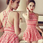 連體裙式大碼平角韓國溫泉游泳衣