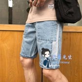 牛仔短褲 夏季薄款牛仔短褲男士直筒寬鬆五分褲破洞休閒七分中褲馬褲子 2色
