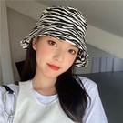 【免運】漁夫帽 百搭防曬帽 日系遮陽帽 帽子女 斑馬紋盆帽 棉質漁夫帽 潮帽