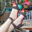 粗跟涼鞋女夏季仙女風一字帶百搭潮超火高跟鞋子   可可鞋櫃