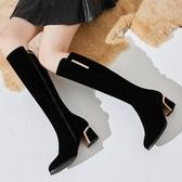 長筒靴女磨砂粗跟尖頭高筒靴子瘦瘦靴秋冬季不過膝靴長靴女高跟鞋 滿天星