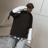 長袖T恤-連帽寬鬆撞色假兩件拼接男上衣2色73qd44【巴黎精品】