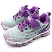 《7+1童鞋》FILA  3-J813T-939  針織彩色網布 透氣舒適  氣墊鞋 運動鞋 慢跑鞋 4257  紫色