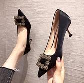 法式氣質 現貨 方扣百搭單鞋尖頭淺口 細跟黑色高跟鞋