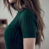 春夏季針織短袖女薄款韓版半高領打底修身顯瘦針織衫套頭緊身t恤【卡米優品】