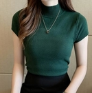 半高領針織衫 半袖針織上衣女打底衫內搭毛衣修身顯瘦短款背心上衣外穿473.F2099韓衣裳