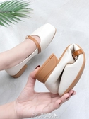 單鞋女平底奶奶鞋2020年春款粗跟春季新款百搭方頭春夏鞋子豆豆鞋 提拉米蘇