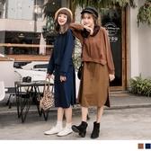 《DA6025》純色高棉拼接襯衫綁帶假兩件洋裝 OrangeBear