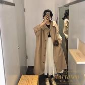 風衣外套女春秋韓版寬鬆顯瘦中長款氣質大衣【繁星小鎮】
