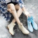 雨鞋女韓國可愛水鞋雨靴短筒成人學生切爾西套鞋膠鞋糖果中筒水靴  母親節特惠