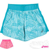 ASICS亞瑟士 女慢跑短褲(花綠) 吸汗速乾 反光機能設計