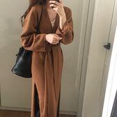 梨卡 - 秋冬氣質甜美純色寬鬆慵懶感中長版過膝綁帶繫帶保暖毛衣超長洋裝針織外套BR140