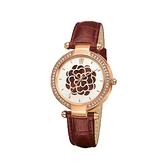 【Folli Follie】Santorini Flower璀璨幸運草時尚氣質腕錶-咖啡紅/WF15B038SPR_BU/台灣總代理享兩年保固