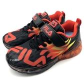 《7+1童鞋》FILA 2-J825T-022  火焰造型  電燈鞋  魔鬼氈  運動鞋 4265  黑色