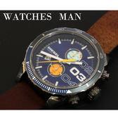 【萬年鐘錶】DIESEL 潮牌 霸氣 雙眼 計時碼錶  藍錶面 銀殼 大錶徑  48mm DZ4350