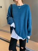 毛衣洋氣寬鬆慵懶風長袖日繫毛衣女2021年新款針織衫圓領外套上衣外穿 雙11 伊蘿