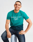 (BJGO) AMERICAN EAGLE_男裝_AE DIP DYE GRAPHIC TEE美國AE漸層圓領T恤/復古系列 最新代購