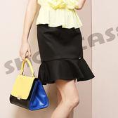 【SHOWCASE】都會時尚素面修身魚尾及膝裙(黑)