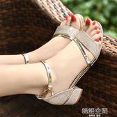 仙女涼鞋女夏粗跟中跟低跟百搭2018新款一字帶扣韓版粗跟羅馬女鞋