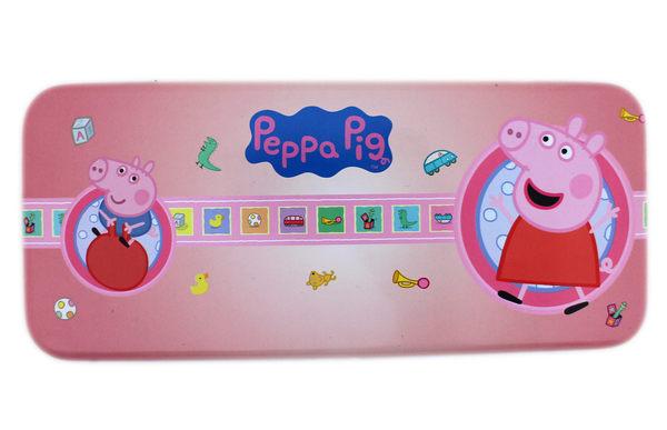 【卡漫城】 佩佩豬 雙層 鉛筆盒 ㊣版 鐵盒 鐵筆盒 馬口鐵 Peppa Pig 豬小弟 玩具 恐龍 車子 豬爸爸