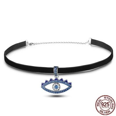 925純銀項鍊鑲鑽-歐美時尚精選幸運之眼女鎖骨鍊73og4【時尚巴黎】