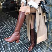 小潘潘側拉鏈復古高筒靴子女2018新款英倫風超顯瘦皮靴