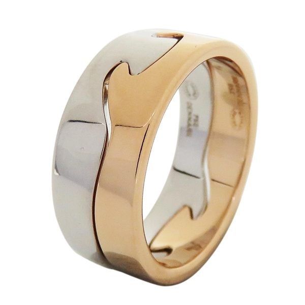 GEORG JENSEN FUSION系列18黃白K金雙色戒指組 2 Piece Ring【二手名牌BRAND OFF】
