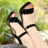 露趾粗跟涼鞋 防水臺一字扣顯瘦超高跟厚底涼鞋《小師妹》sm1117