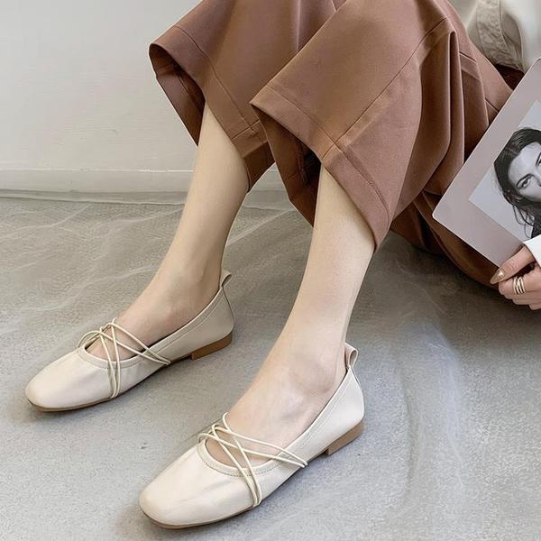 單鞋 交叉綁帶芭蕾舞平底鞋淺口單鞋女2020新款仙女百搭軟底軟皮奶奶鞋 印象