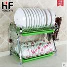 304不鏽鋼碗碟架碗盤瀝水架餐具收納置物架子雙層壁掛廚房碗架(碗架 砧板 刀架)