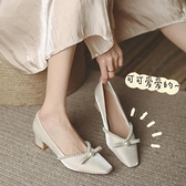 中跟高跟鞋女粗跟年新款春秋單鞋方頭仙女晚晚風溫柔鞋奶奶鞋 格蘭小鋪