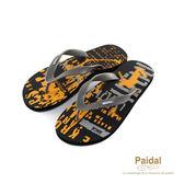 Paidal 男款極限運動塗鴉風男足弓款夾腳拖鞋海灘拖鞋-黑