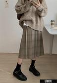 氣質學院風復古格紋皺摺長裙 Z11346【快速出貨】