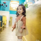 秋裝小童裝女童工裝背帶裙長袖t恤兩件套套裝休閒時尚1-3-5歲 港仔會社