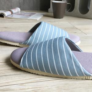 【iSlippers】療癒系舒活布質室內拖鞋(多款任選)條紋-灰藍(L)