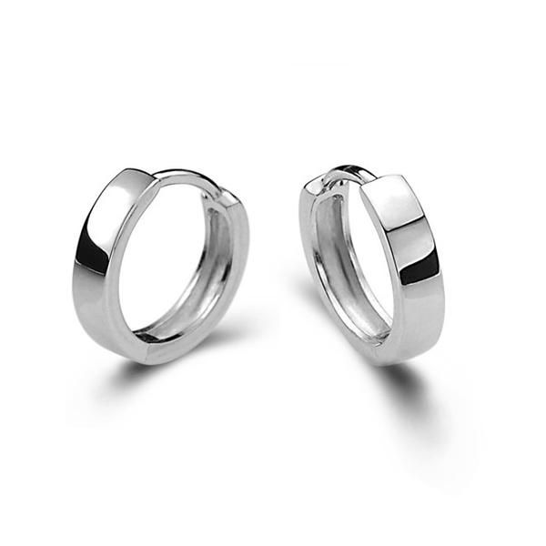 925純銀 弧形素面 耳環耳圈扣-銀 防抗過敏