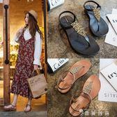 涼鞋女夏平底軟底新款韓版網紅同款夾腳百搭夾趾羅馬沙灘鞋子 薔薇時尚