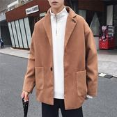 短款毛呢大衣韓版寬鬆情侶呢子外套港風bf帥氣加厚男士風衣·皇者榮耀3C旗艦店