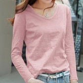 寬鬆竹節棉長袖t恤女新款上衣女v領純棉粉色薄款打底衫 黛尼時尚精品