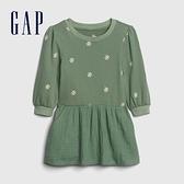 Gap女幼童 甜美風格愛心圓領長袖洋裝 599931-綠色