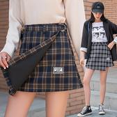 出清188 韓系不規則格子半身裙高腰包臀裙單品短裙