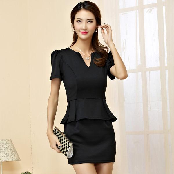 中大尺碼*優雅V領OL短袖顯瘦荷葉腰身連衣裙~美之札
