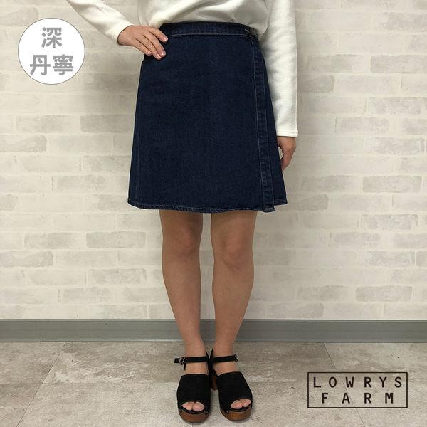LOWRYS FARM素面類丹寧側鈕扣膝上裙迷你短裙-二色