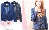 【YOUNGBABY】荷葉v領雙釦雪花刷色牛仔外套.黑/藍