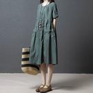 洋裝 連身裙 棉麻洋裝女夏季2020新款胖mm寬鬆大碼過膝顯瘦民族風亞麻中長裙