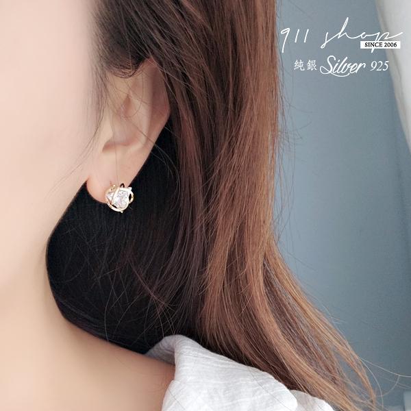 Hoax.925純銀三角鑽纏繞絲穿針式耳環【s345】911 SHOP