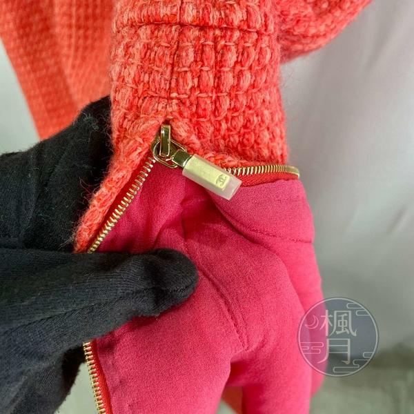 BRAND楓月 CHANEL 香奈兒 珊瑚橘色 無袖 套裝洋裝 正式洋裝 附上腰帶 長度至膝蓋上下 尺寸34